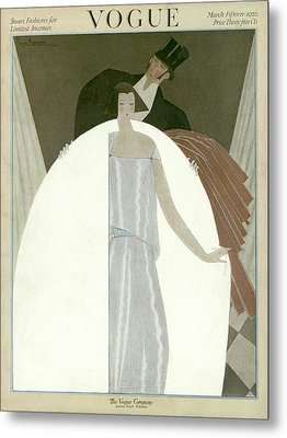 A Vogue Magazine Cover Of A Wealthy Man And Woman Metal Print by Georges Lepape