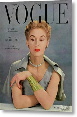 A Vogue Magazine Cover Of Lisa Fonssagrives Metal Print by John Rawlings