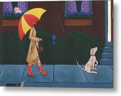 A Walk On A Rainy Day Metal Print by Christy Beckwith