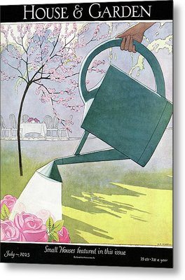 A Watering Can Above Pink Roses Metal Print