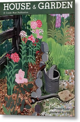 A Watering Can And A Shovel By A Flower Bed Metal Print