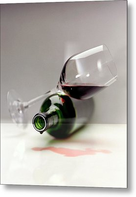 A Wine Bottle And A Glass Of Wine Metal Print