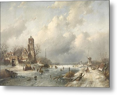 A Winter Scene, Charles Leickert Metal Print by Litz Collection