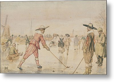 A Winter Scene With Two Gentlemen Playing Colf Hendrick Metal Print by Litz Collection