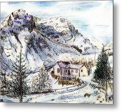 Alpine Winter Wonderland Metal Print