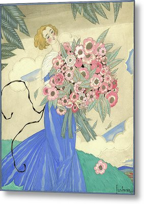A Woman In A Blue Dress Holding A Bouquet Metal Print by Georges Lepape