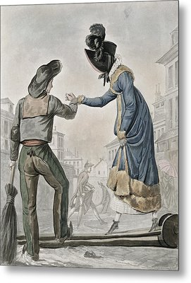 A Woman Paying A Street Sweeper Metal Print by Antoine Charles Horace Vernet
