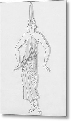 A Woman Wearing A Costume Metal Print by Robert E. Locher