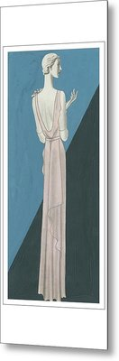 A Woman Wearing A Gown By Mainbocher Metal Print