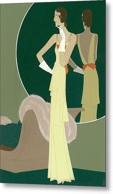A Woman Wearing A Mainbocher Dress Metal Print by Eduardo Garcia Benito