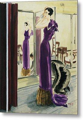 A Woman Wearing A Purple Augustabernard Evening Metal Print by Rene Bouet-Willaumez