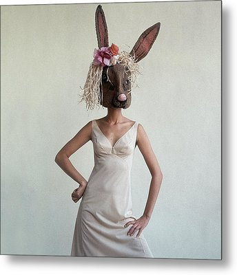 A Woman Wearing A Rabbit Mask Metal Print by Gianni Penati