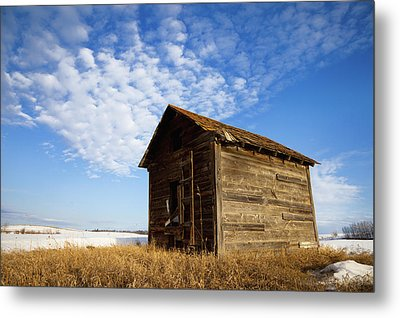 A Wooden Shed Stands Alone Metal Print by Steve Nagy
