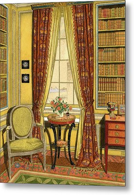 A Yellow Library With A Vase Of Flowers Metal Print by Harry Richardson