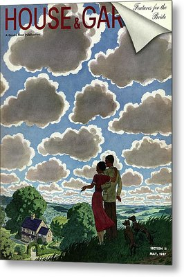 A Young Couple And Their Dogs On A Hilltop Metal Print by Pierre Brissaud