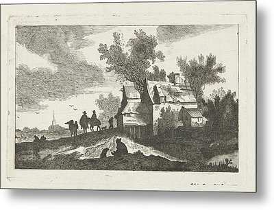 Abandoned House And Riders, At Night Metal Print by Quint Lox