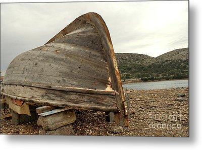 Abandoned Nafplio Fishing Boat Metal Print by Deborah Smolinske