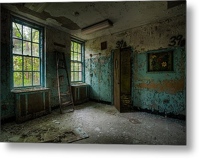 Abandoned Places - Asylum - Old Windows - Waiting Room Metal Print by Gary Heller