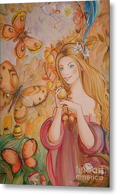 Abigail In The Golden Forest Metal Print by Ottilia Zakany