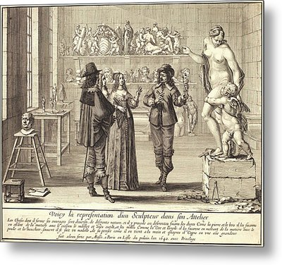 Abraham Bosse, French 1602-1676, A Sculptor In His Atelier Metal Print