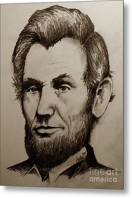 Abraham Lincoln Sepia Tone Metal Print by Catherine Howley