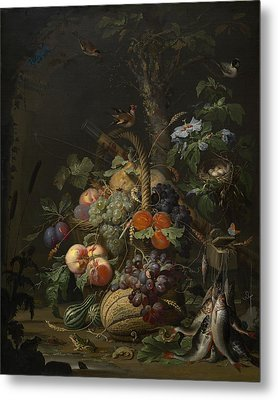 Abraham Mignon Still Life With Fruit Fish And A Nest C 1675 Metal Print by MotionAge Designs