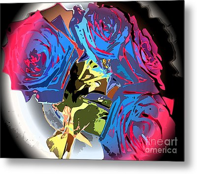 Abstract Cluster Of Roses Metal Print by Minding My  Visions by Adri and Ray