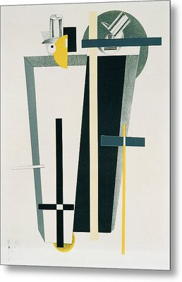 Abstract Composition In Grey, Yellow Metal Print by Eliezer Markowich Lissitzky