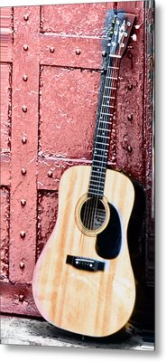 Acoustic Guitar And Red Door Metal Print by Bill Cannon