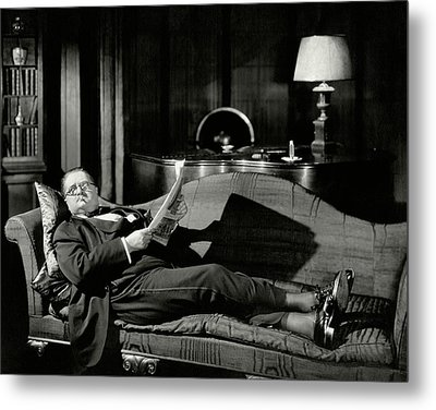 Actor Alexander Woollcott On A Couch Metal Print by Nick Lazarnick
