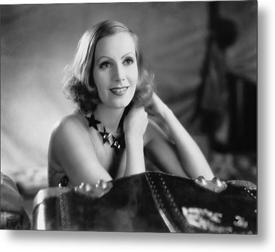 Actress Greta Garbo Metal Print by Underwood Archives