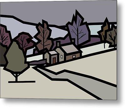 Adam's Farm In Winter Metal Print by Kenneth North