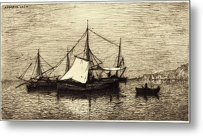Adolphe Appian, French 1818-1898, Coasting Trade Vessels Metal Print