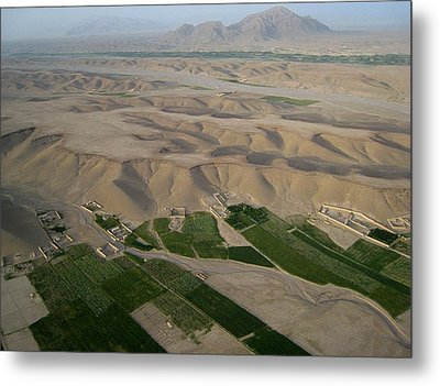 Afghan Village From The Air In Helmand Province Metal Print