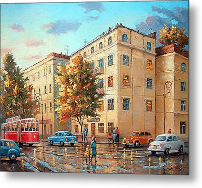 Metal Print featuring the painting After Rain by Dmitry Spiros