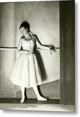Agnes De Mille Resting Her Arm On A Balance Bar Metal Print