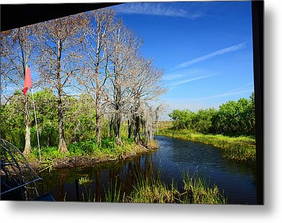 Airboat In Camp Metal Print by Ken  Collette