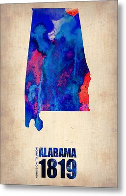 Alabama Watercolor Map Metal Print by Naxart Studio