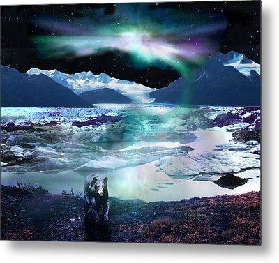 Alaska Aurora Knik Glacier Bear Metal Print by Dianne Roberson