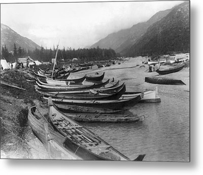 Metal Print featuring the photograph Alaska Canoes, C1897 by Granger