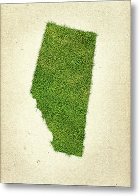 Alberta Grass Map Metal Print by Aged Pixel