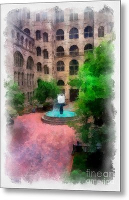 Allegheny County Courthouse Courtyard Metal Print by Amy Cicconi