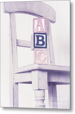 Alphabet Blocks Chair Metal Print