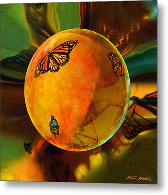 Ambered Butterfly Orb Metal Print by Robin Moline