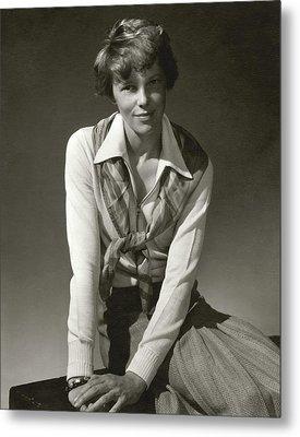 Amelia Earhart Wearing A Scarf Metal Print