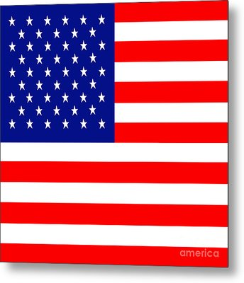 American Flag . Square Metal Print by Wingsdomain Art and Photography
