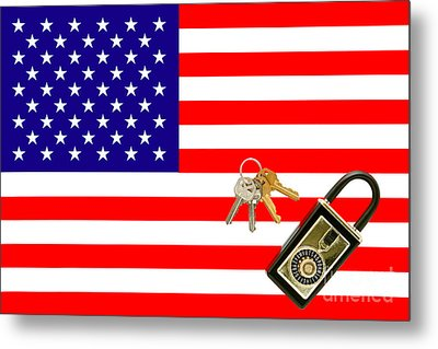 American Real Estate With Keys Lock Box And American Flag Metal Print by Olivier Le Queinec