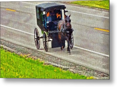 Amish Family In Horse And Buggy Metal Print by Dan Sproul