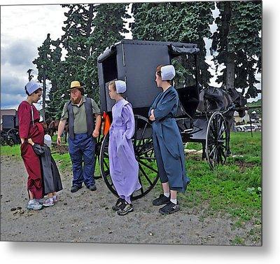 Amish Family Travelers Metal Print by Brian Graybill