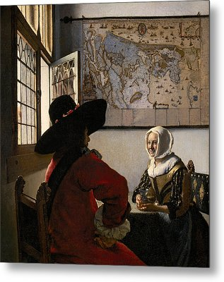 Amorous Couple Metal Print by Jan Vermeer